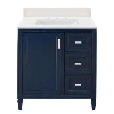 Channing 31 in. W x 22 in. D Vanity in Royal Blue with Engineered Marble Vanity Top and Sink in Winter White (4-piece)