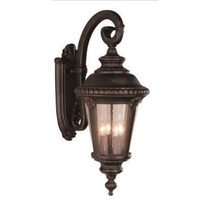 Breeze Way 4-Light Rust Outdoor Wall Lantern Sconce with Seeded Glass