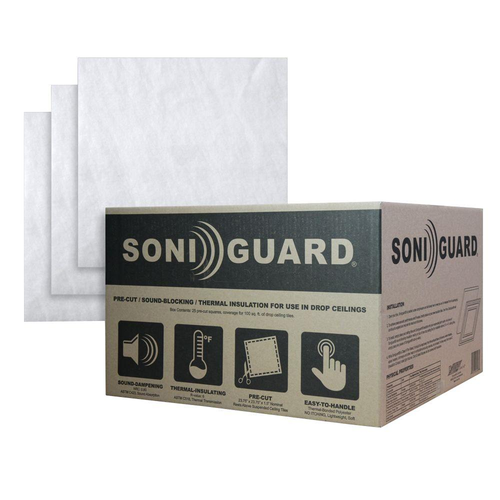 Ceilume Soniguard 24 in. x 24 in. Drop Ceiling Acoustic/Thermal ...