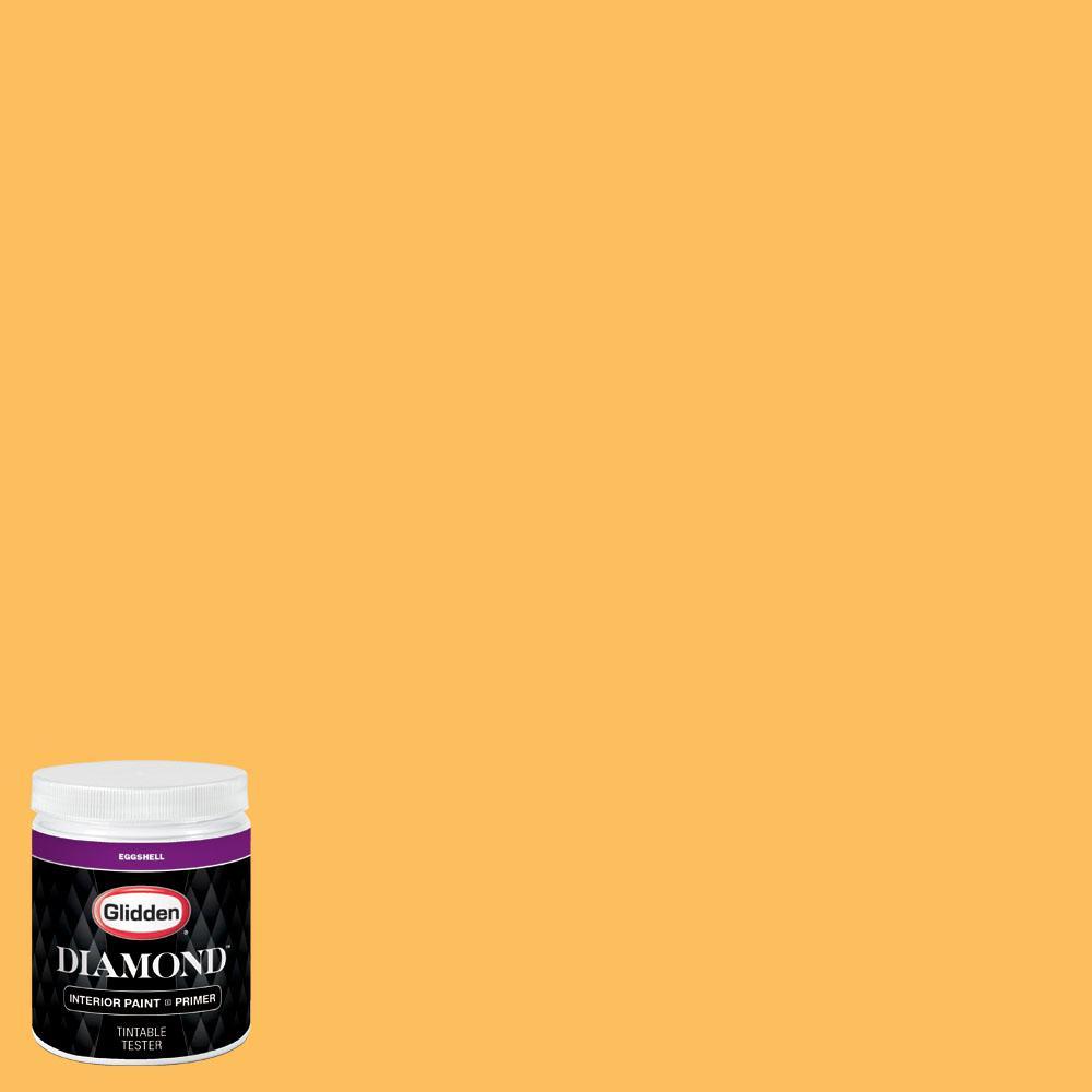 Glidden premium 8 oz nhl 005c calgary flames yellow for Eggshell yellow paint