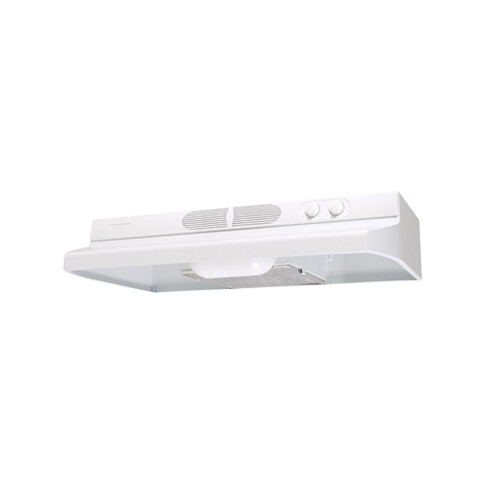 Air King Quiet Zone 30 in. Under Cabinet Convertible Range Hood with Light in White The Quiet Zone Series Under Cabinet Range Hoods feature a low profile contemporary style while still properly ventilating the kitchen. With multiple finishes, and size options, Air King provides the quiet solution. Ideal for your kitchen ventilation needs. Color: White.