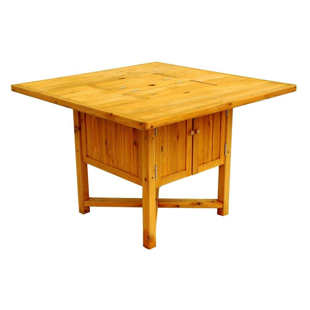 Square Cypress Cooler Patio Table - Leisure Season 43 In. Square Cypress Cooler Patio Table-CT4330 - The