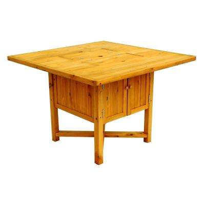43 in. Square Cypress Cooler Patio Table