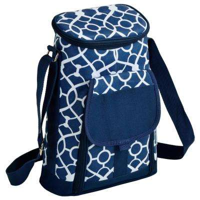 2-Bottle Trellis Blue Insulated Wine Tote and Cheese Set