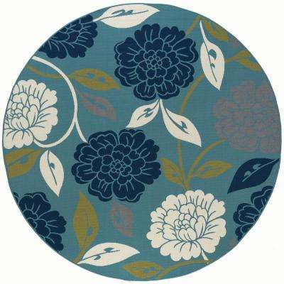 Peony Aqua 8 ft. x 8 ft. Round Indoor/Outdoor Area Rug