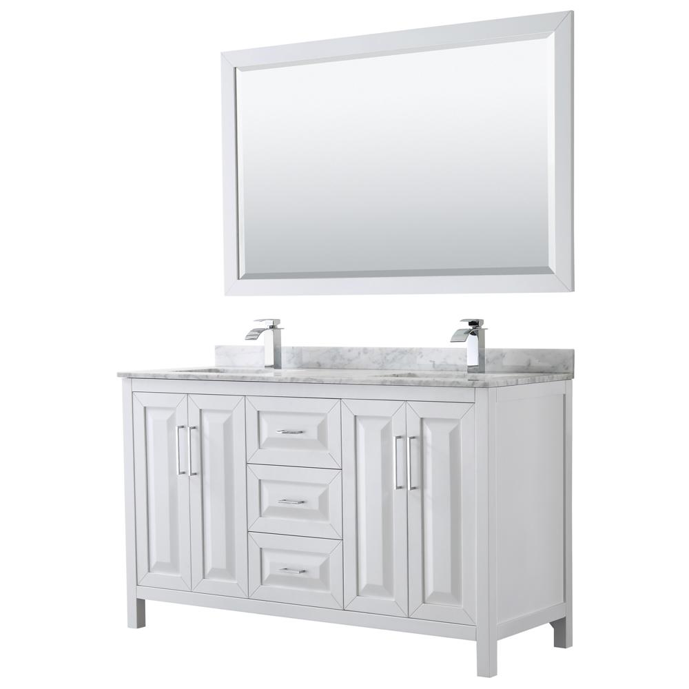 Wyndham Collection Daria 60 In Double Bathroom Vanity White With Marble Top