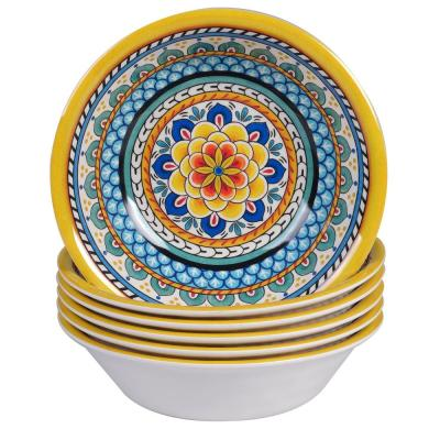 Portofino 7.5 in. x 2 in. 6-Piece Multi-Colored Earthenware All-Purpose Bowl