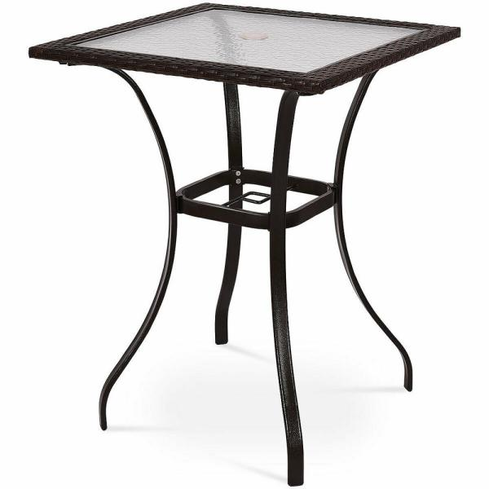 Rattan Wicker Outdoor Patio Coffee Table Bar Square Table Glass Top Yard Garden Furniture