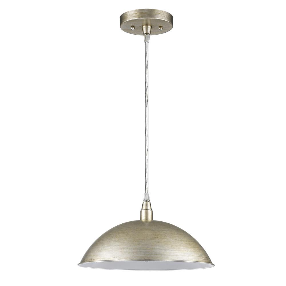 Acclaim Lighting Layla 1 Light Washed Gold Bowl Pendant With Gloss White Interior Shade