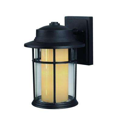 Charlotte 1-Light Black Outdoor Wall Lantern with Clear/Flat Opal Glass