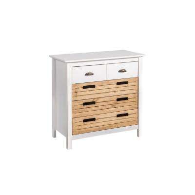 Irving 5-Drawer White and Natural Wood Dresser