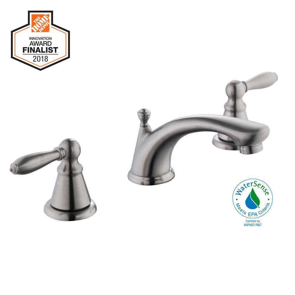 Adley 8 in. Widespread 2-Handle Low-Arc Bathroom Faucet in Brushed Nickel
