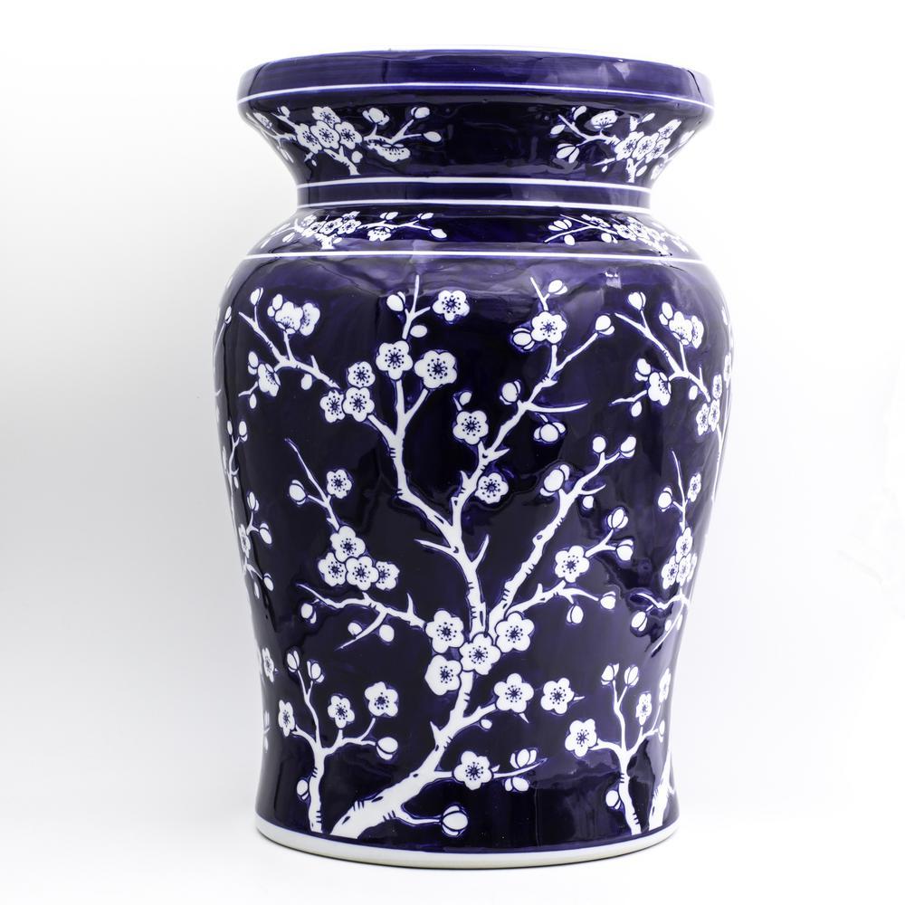 Blue Garden Cobalt Cherry Blossom Podium Stool 32044