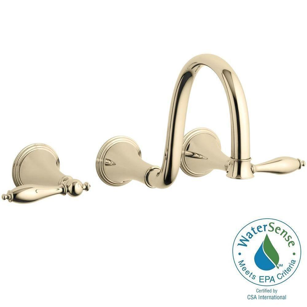 KOHLER Finial Traditional 8 in. Wall-Mount 2-Handle High-Arc Bathroom Faucet Trim in Vibrant French Gold