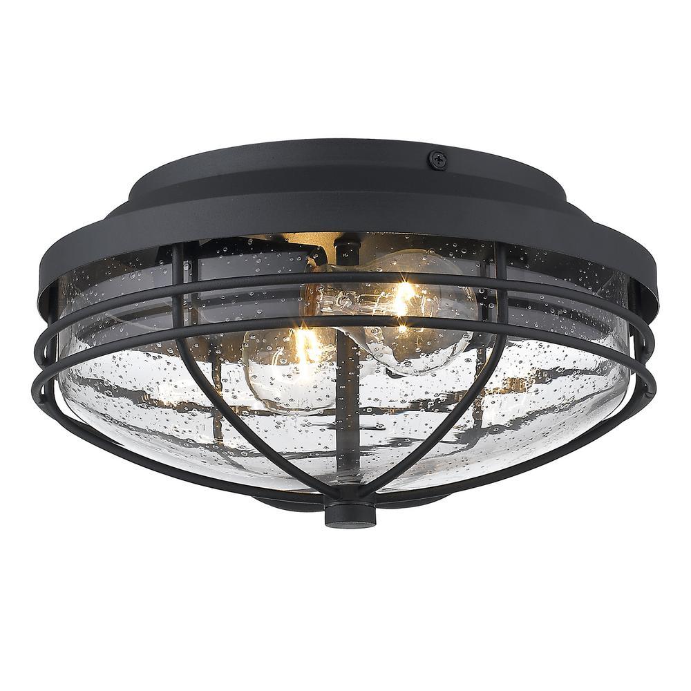 Seaport 2-Light Black Outdoor Flush Mount Light