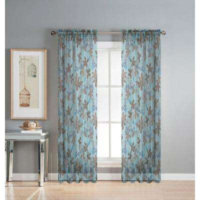 Sheer Ashville 54 in. W x 84 in. L Rod Pocket Sheer Extra Wide Curtain Panel in Printed Blue