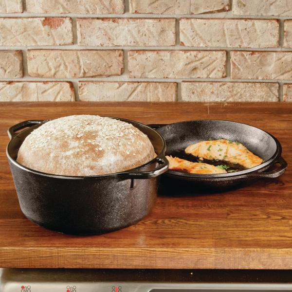 Lodge 5 Qt Cast Iron Dutch Oven With Skillet Lid L8dd3 The Home