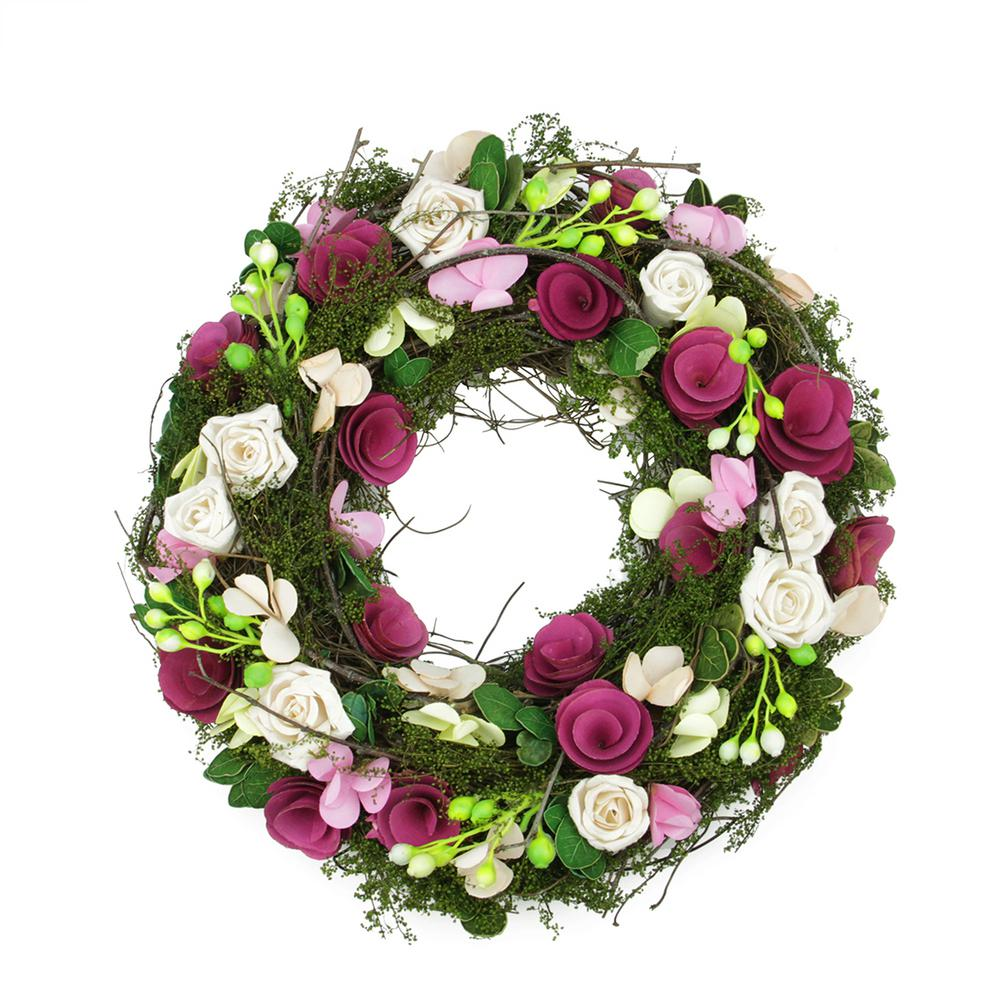 Northlight 14 in. Purple and White Flowers and Green Leaves Berries and Twig Artificial Spring Floral Wreath