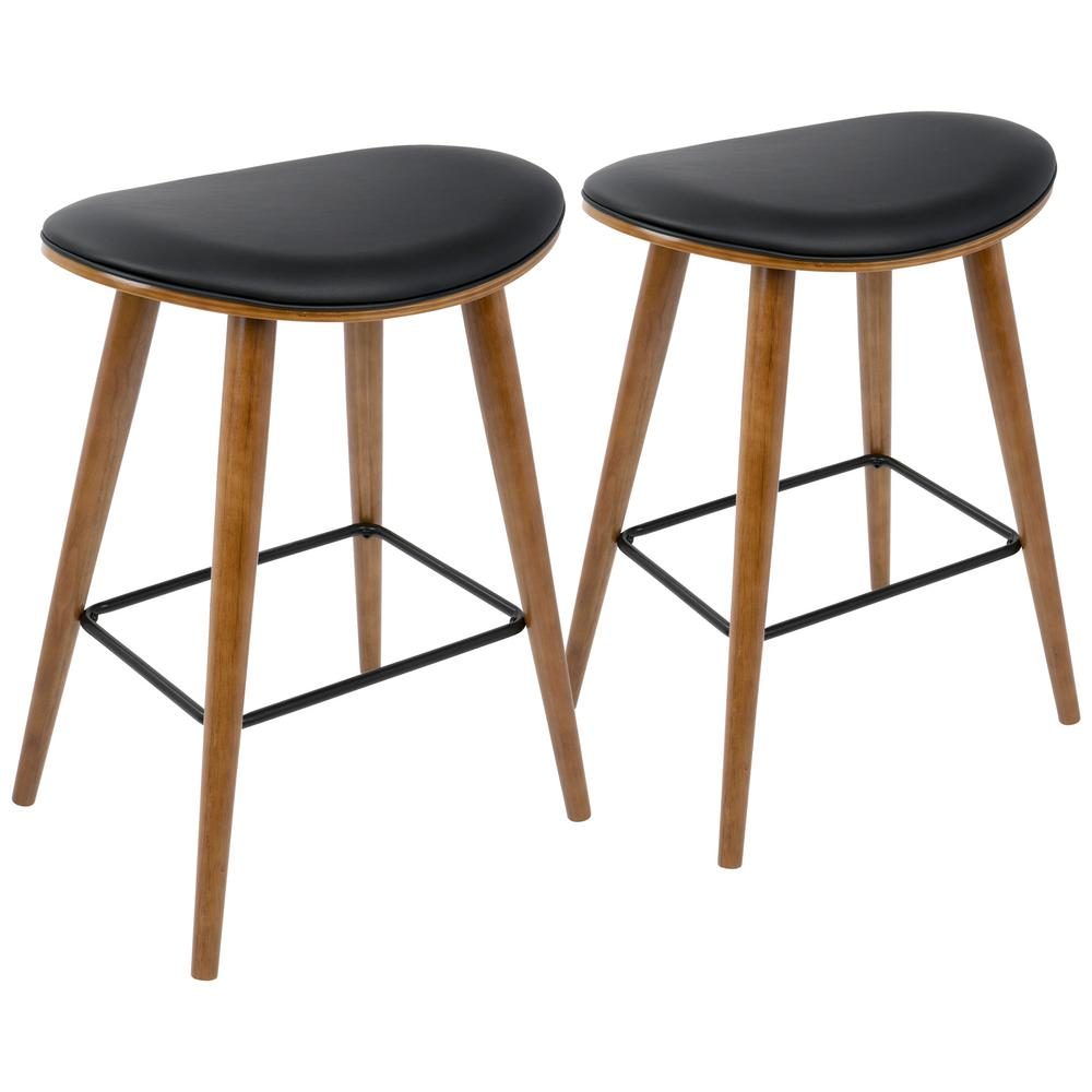 Lumisource saddle 26 in counter stool in walnut and black in faux leather set