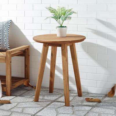 Acacia Brown Wood 20 in. Outdoor Round Side Table