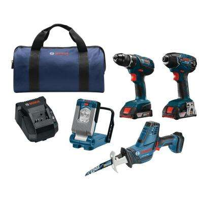 18-Volt Lithium-Ion Cordless Drill/Driver, Impact Driver, Recip Saw, LED Work Light Power Tool Combo Kit (4-Tool)