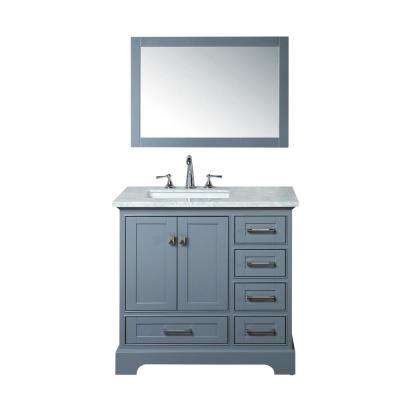 Newport 36 in. W x 22 in. D Vanity in Gray with Marble Vanity Top in Carrara White and Mirror