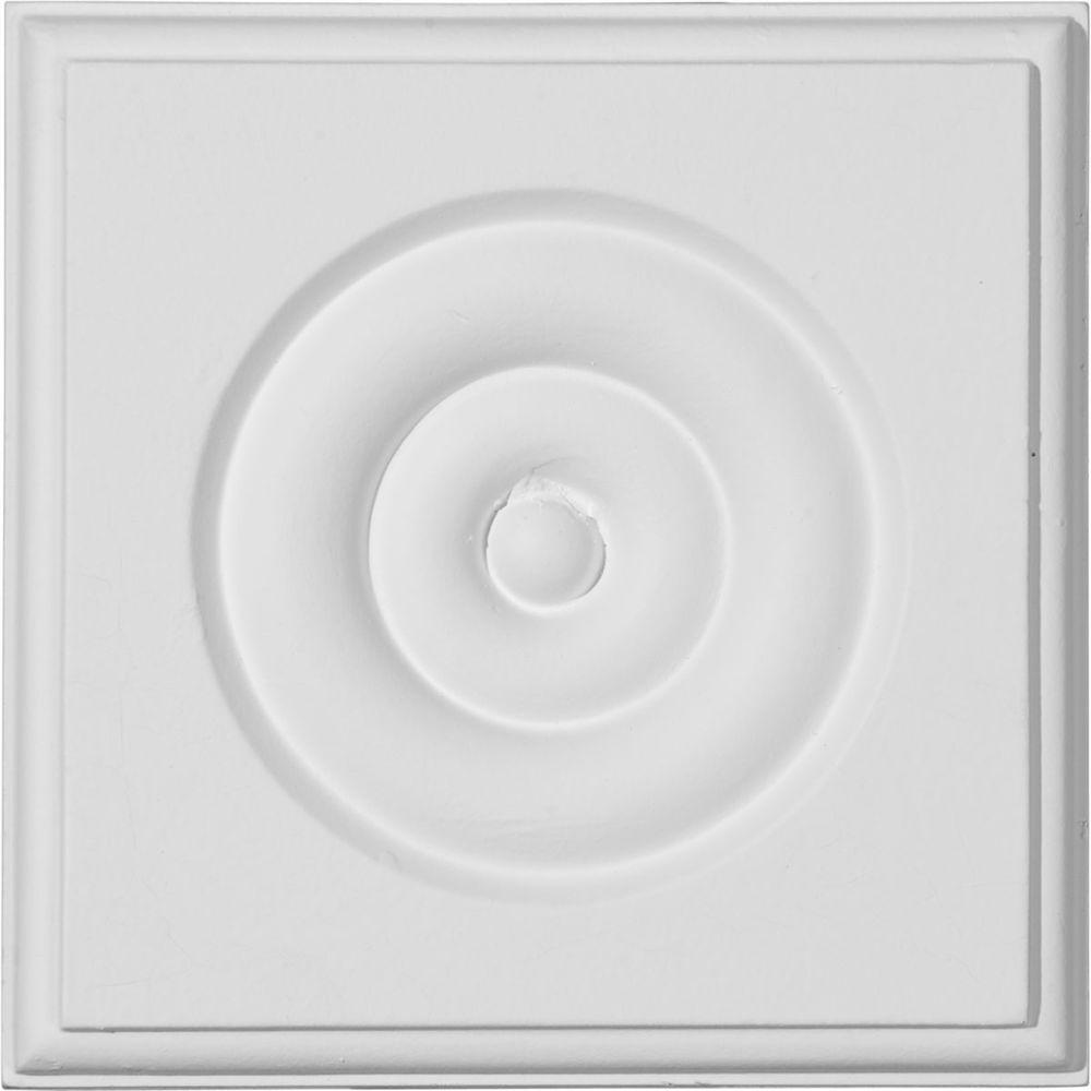 Ekena Millwork 4-3/4 in. x 1-1/8 in. x 4-3/4 in. Waltz Bullseye Plinth Block