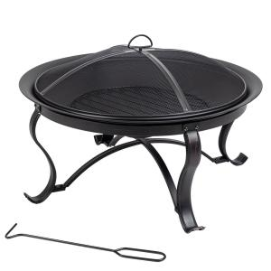 Sadler 30 in. x 19 in. Round Steel Wood Burning Fire Pit in Rubbed Bronze