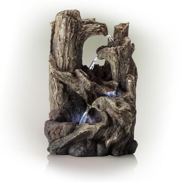 14 in. Tall Indoor/Outdoor Tiered Log Tabletop Fountain with LED Lights