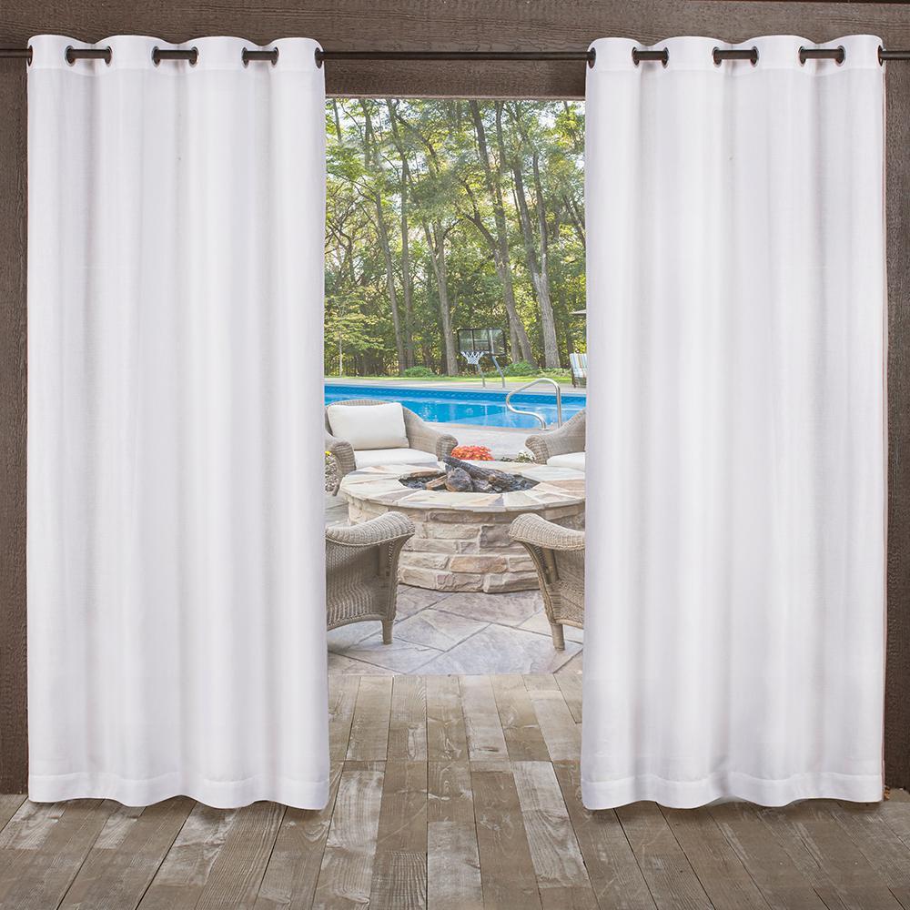 Miami 54 in. W x 96 in. L Indoor Outdoor Grommet Top Curtain Panel in Winter White (2 Panels)