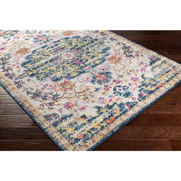 Artistic Weavers Iris Blue 9 Ft X 12 Ft 3 In Medallion Area Rug S00161030229 The Home Depot