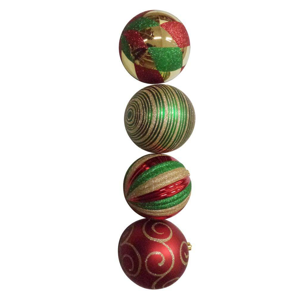 null 200 mm Extra Large Shatterproof Ball Ornament (4-Pack)