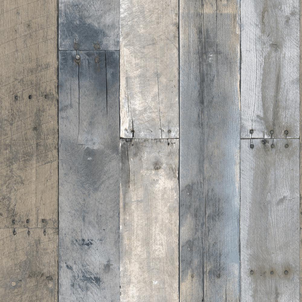 Repurposed Wood Multi-Color Peel and Stick Wallpaper 56 sq. ft.