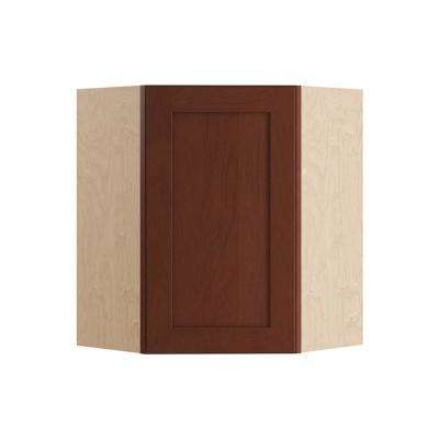 Kingsbridge Assembled 24x30x24 in. Wall Angle Corner Cabinet in Cabernet