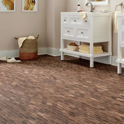 Autumn Wood Linear Hexagon 12 in. x 13-1/2 in. x 8mm Glazed Porcelain Mosaic Floor and Wall Tile (0.97 sq. ft. / piece)