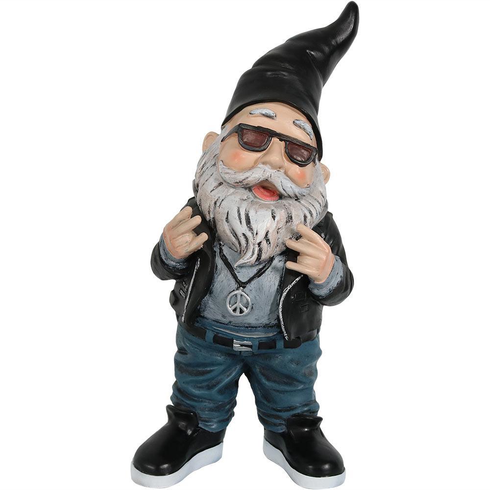 14 in. Randy the Rebel Biker Gnome Garden Statue