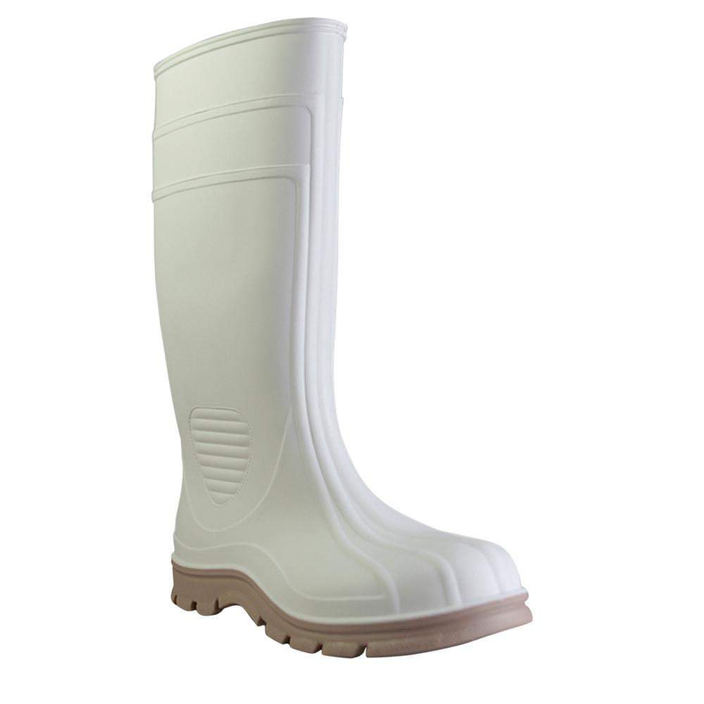Men's Size 10 White Marine Tuff Steel Toe PVC Boot