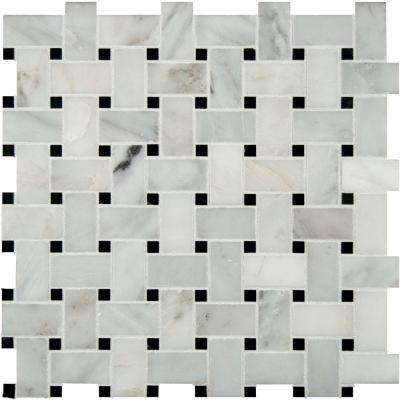 Greecian White Basketweave 12 in. x 12 in. x 10mm Honed Marble Mesh-Mounted Mosaic Tile (10 sq. ft. / case)