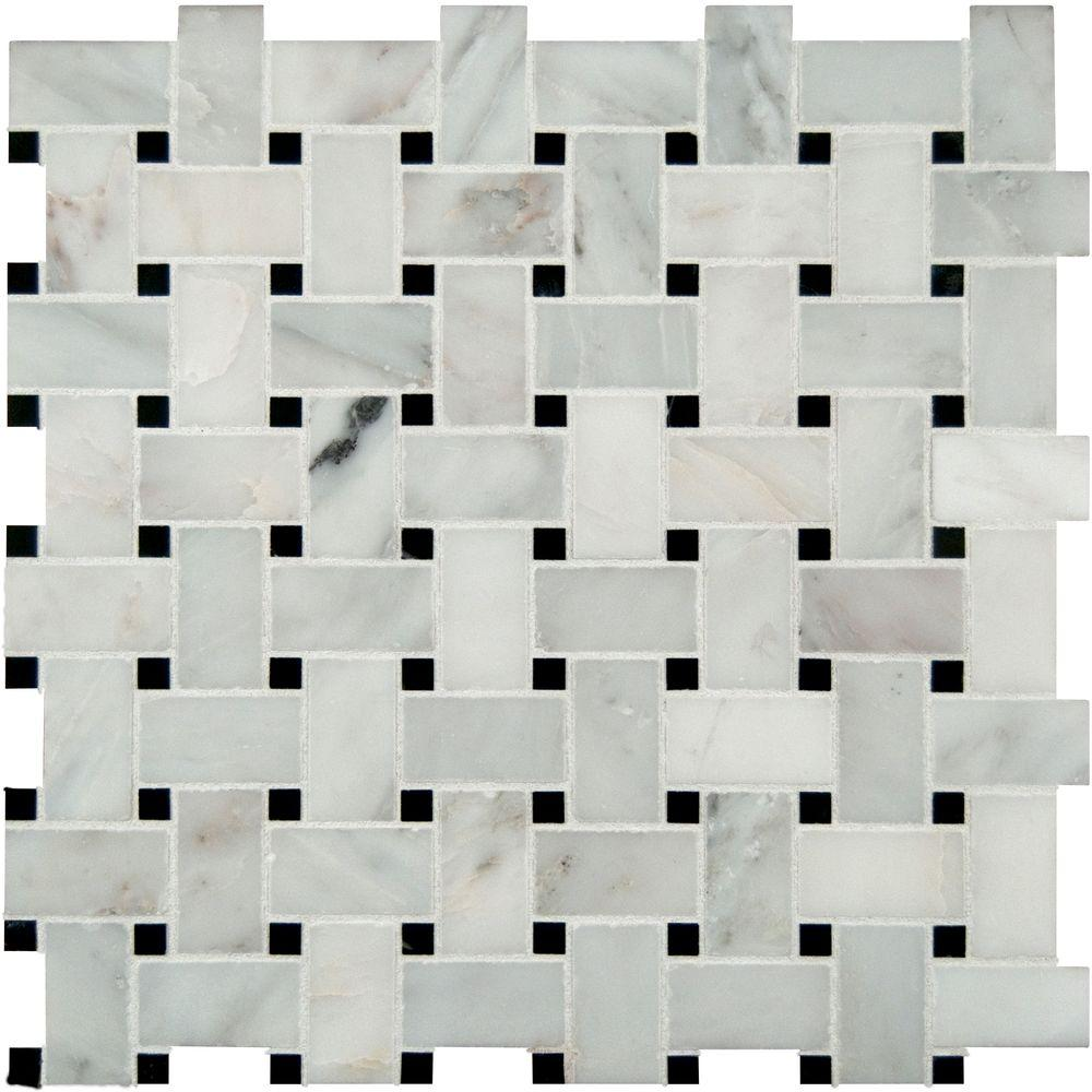 Basketweave mosaic tile tile the home depot greecian white basketweave 12 in x 12 in x 10 mm honed marble mesh dailygadgetfo Choice Image