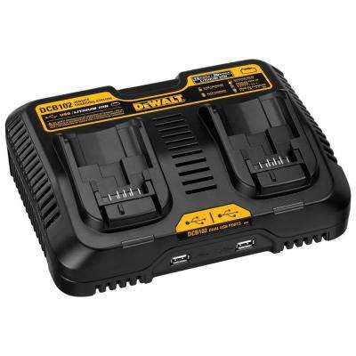 12-Volt to 20-Volt MAX Lithium-Ion Dual Port Jobsite Fast Charging Station with (2) USB Ports