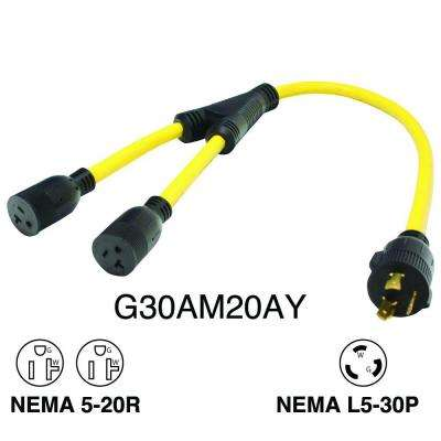 3 ft. Generator 30 Amp 3-Prong Extension Cord to 15-20 Amp (x2) Y-Adapter