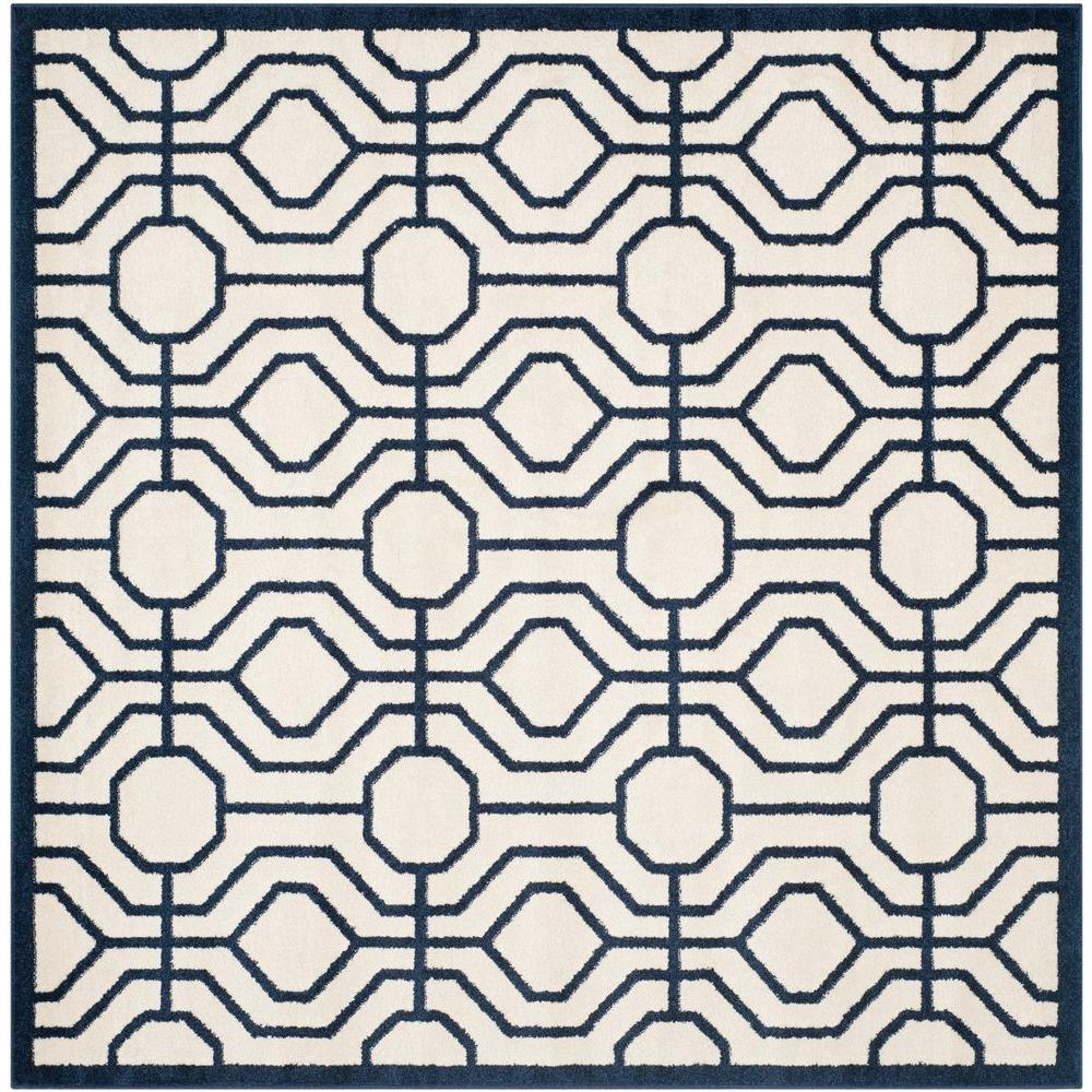 Amherst Ivory/Navy 7 ft. x 7 ft. Indoor/Outdoor Square Area Rug