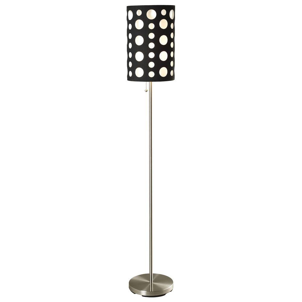 ORE International 62 in. Black and White Stainless Steel High Modern Retro Floor Lamp