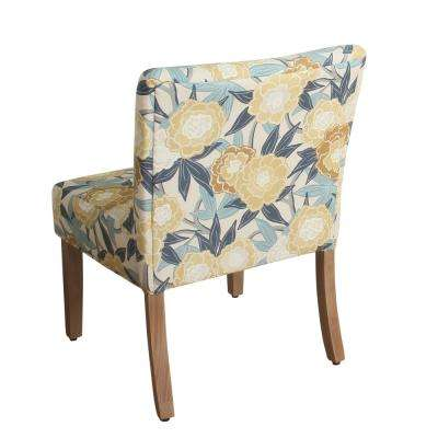 Printed Yellow and Blue Floral Parker Accent Chair and Pillow