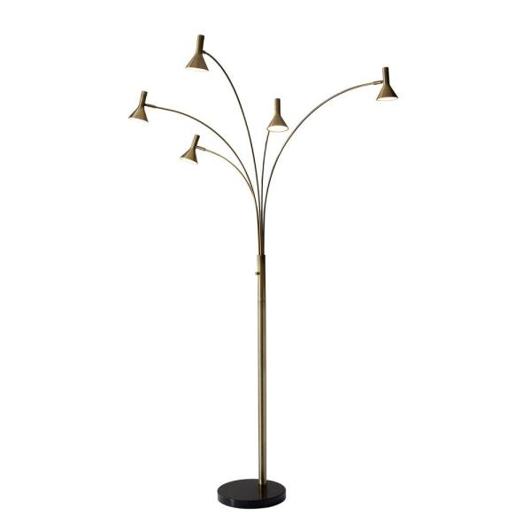 Maxwell 76 in. Integrated LED Brass Arc Floor Lamp