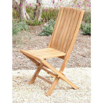Brown Teak Wood Folding Chair
