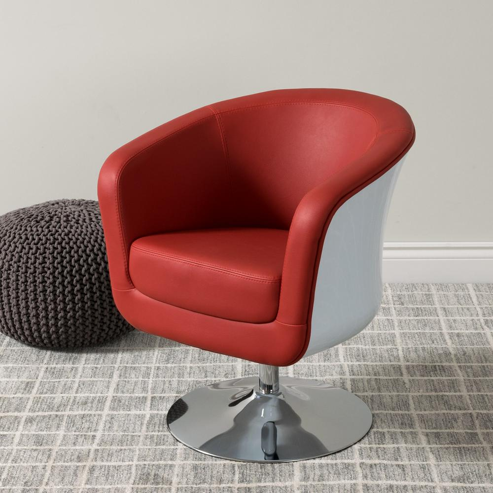 Corliving Mod Modern Red And White Bonded Leather Tub Chair