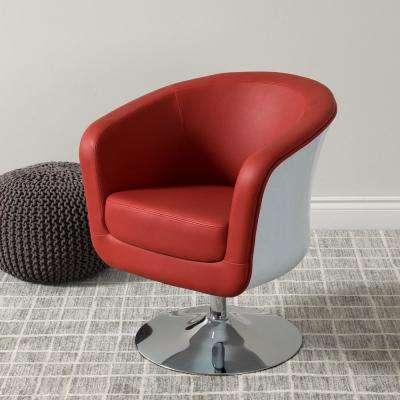 Mod Modern Red and White Bonded Leather Tub Chair