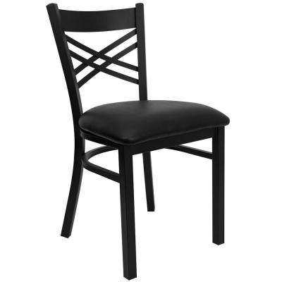 Hercules Series Black X Back Metal Restaurant Chair with Black Vinyl Seat