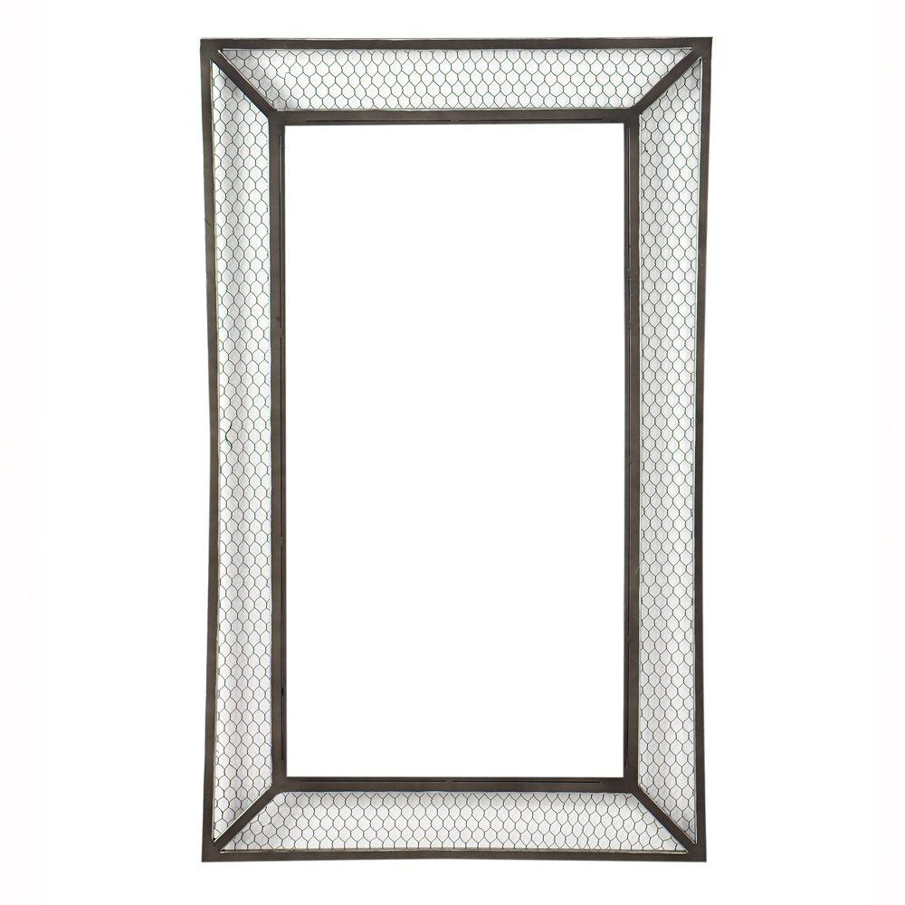 Home Decorators Collection 42 in. H x 26 in. W Cozy Black With Silver Framed Mirror